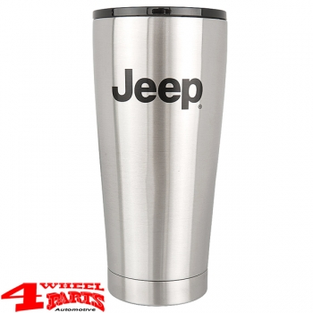 "Coffee Mug Grip Cup Stainless Steel with ""Jeep"" Logo 590ml"