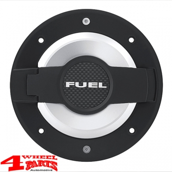 Gas Hatch Cover Fuel Black Silver Carbon Wrangler JK year 07-18