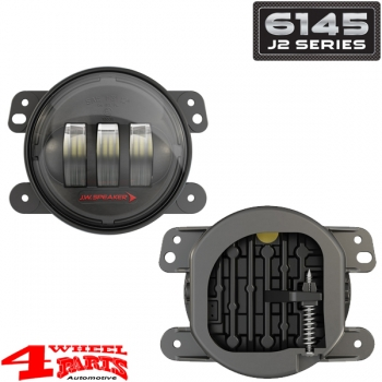 LED Fog Lamp Pair Black 6145 J2 Series Wrangler JK year 07-18