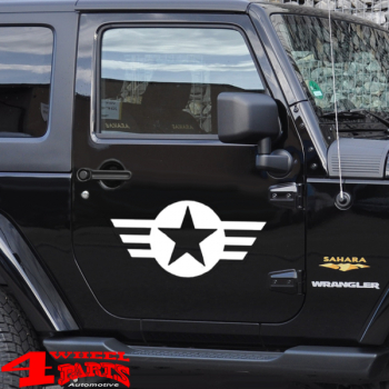 Decal Pair White Star and Stripes Wrangler JK JL year 07-20