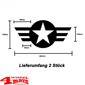 Decal Pair Black Star and Stripes Wrangler JK JL JT year 07-20