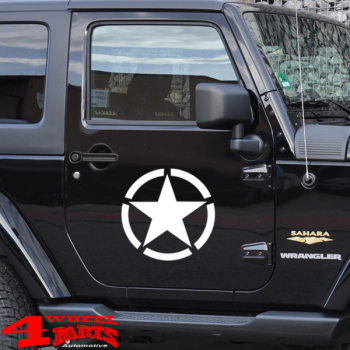 Decal Pair White Star Wrangler JK year 07-18