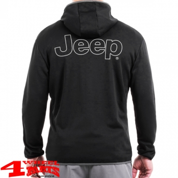 Stretch Jacke mit Kapuze und Jeep Aufdruck in Black Wet Weather