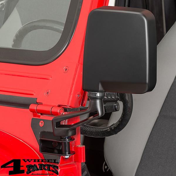 mirror relocation bracket in black steel jeep cj wrangler yj year 76 95 4 wheel parts steel jeep cj wrangler yj year 76 95