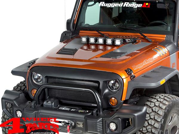 Light Bar Hood Mounted For Led Lights Black Textured Jeep Wrangler Jk Year 07 18 4 Wheel Parts