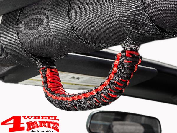 set of 6 Jeep Wrangler JK Paracord Grab Handles Red