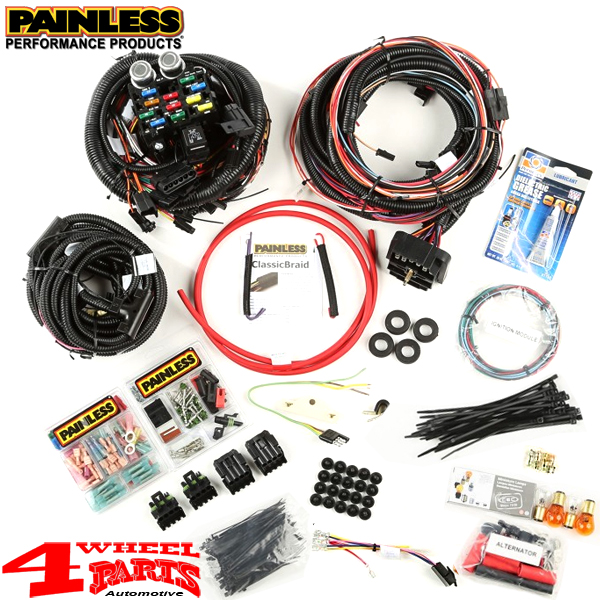 Wiring Replacement Factory Style Harness from Painless Jeep ... on jeep cj proportioning valve, jeep cj air filter, jeep cj clutch, jeep cj grille, jeep cj alternator, jeep cj coils, jeep cj antenna, jeep cj dash removal, jeep cj shift knob, jeep horn wiring, jeep cj torque converter, jeep cj fuel sender, jeep cj spring, jeep cj shifter, jeep cj gas pedal, jeep cj horn, jeep cj voltage regulator, jeep cj driveshaft, jeep cj turn signal switch, jeep cj intake manifold,