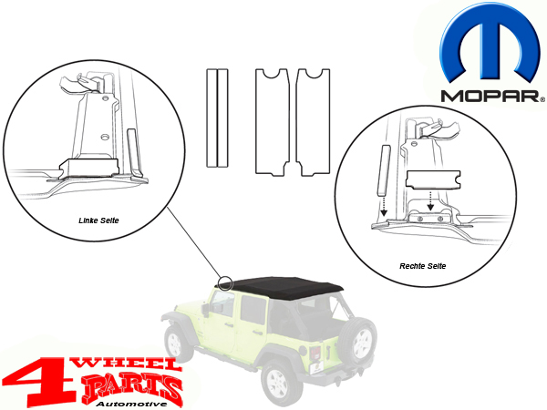 Soft Top Oem Factory Header Foam Tape Kit Mopar Jeep Wrangler Jk