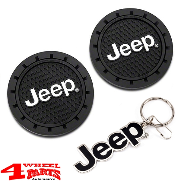 Keychain Metal Enamel + Cup Holder Coaster with Jeep Logo