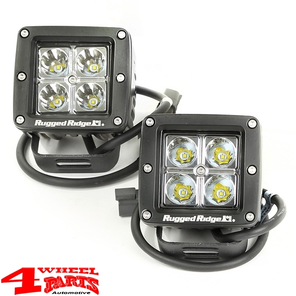 Windshield Light Brackets + 2 LED Lights Square Wrangler JK year 07-18