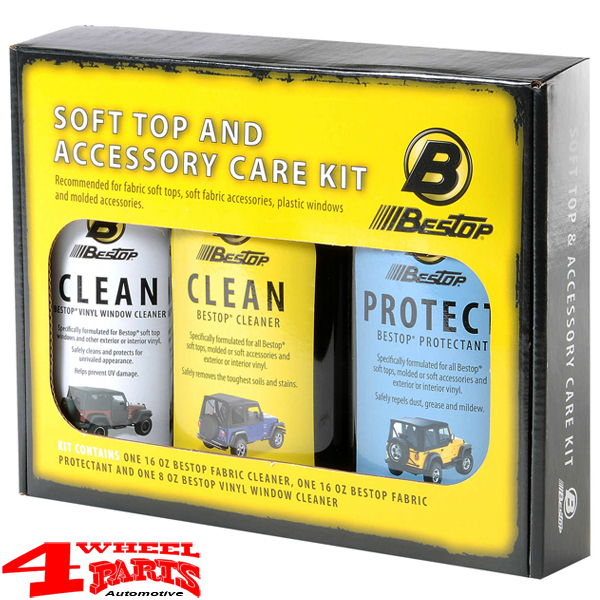 Soft Top or Bikini Top Protectant three Pack Cleaner Kit from Bestop