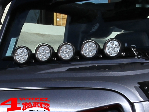 Light Bar Hood Mounted Satin Black + 5 LED's round JK year 07-18