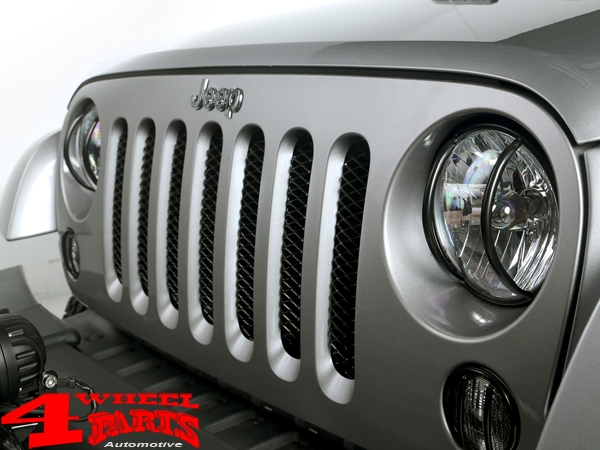 Insert Grill Screen Mesh Steel Gloss Black Wrangler JK year 07-15