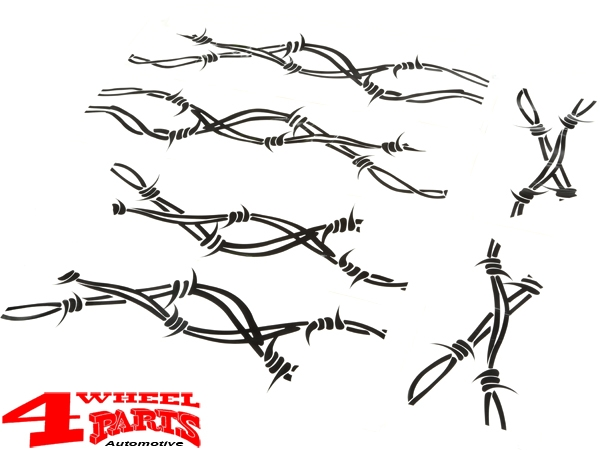 Side Decals Set Barbed Wire Jeep Wrangler JK year 07-18