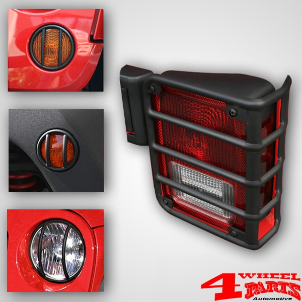 Tail & Head Light Guard Set Black Satin 4 pce. Wrangler JK year 07-18