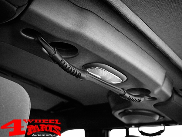Grab Handles Pair Black Dual Center Roll Bar Wrangler JK JL 07-20