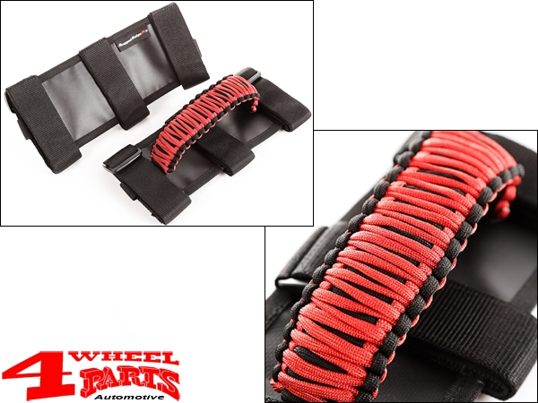 Grab Handles Pair Red Sport Bar Paracord Jeep year 76-20