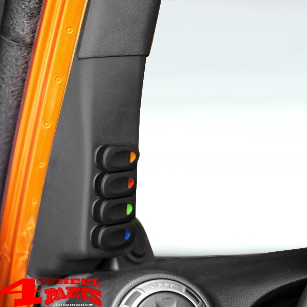 Switch Pod Kit A-Pillar incl. 4 Switches Left Wrangler JK year 07-10