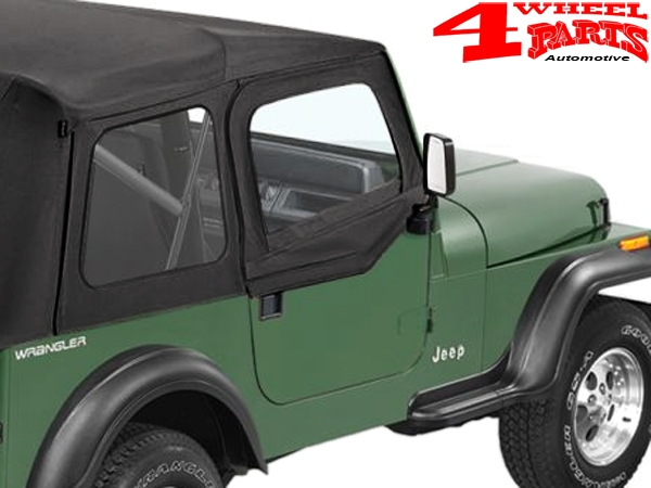 Soft Upper Doors Pair Black Crush for Supertop Wrangler YJ year 88-95