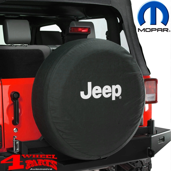 Tire Cover Mopar Jeep Logo White CJ + Wrangler YJ TJ JK year 76-18