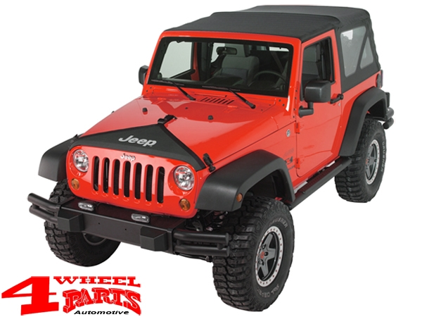 Hood Bra Cover Black with Jeep Logo Wrangler JK year 07-18