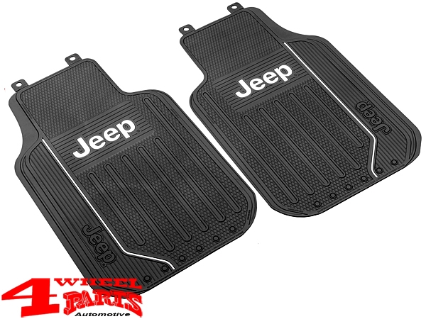 Floor Mats Front Black Elite Series with Logo for Jeep Models