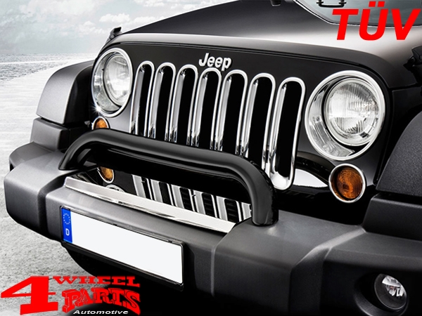 Front Protection Bar with TÜV Black Jeep Wrangler JK year 07-18