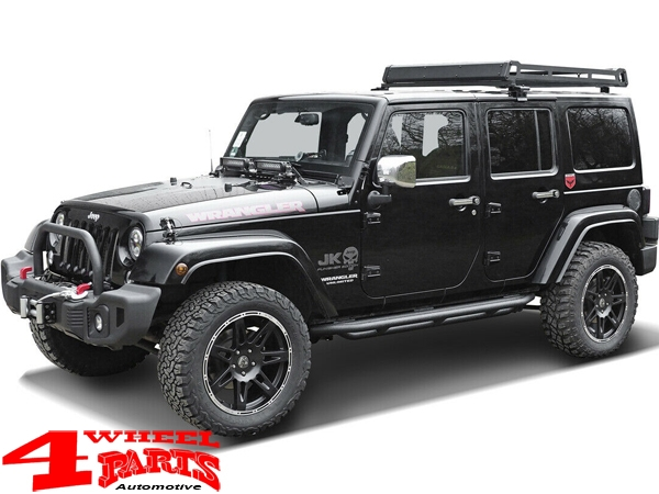 Side Tube Steps Black Rock textured Wrangler JK 07-18 4-doors