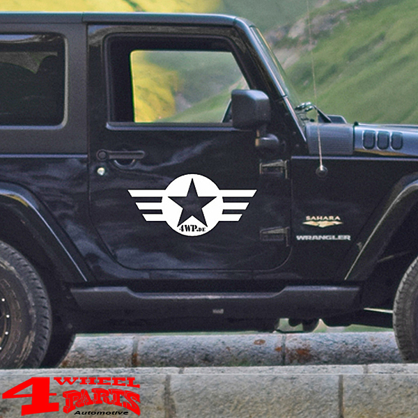 Decal Pair White Star and Stripes with Logo Wrangler JK JL 07-20