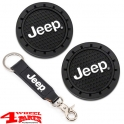 "Keychain Vinyl Strap + Cup Holder Coaster with ""Jeep Logo"""