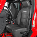 "Seat Cover Front Black with ""Jeep"" Logo Wrangler JK TJ year 03-18"