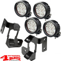 Windshield Light Brackets Dual + 4 LED Lights round Wrangler JK year 07-18