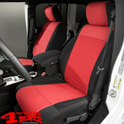 Seat Covers Pair Neoprene Front Black/Red Jeep Wrangler JK year 11-18
