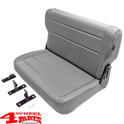 Rear Seat Bench Gray Denim CJ + Wrangler YJ year 76-95