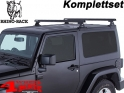 Overhead Rhino Rack Mounting Kit + Heavy Duty Bars Black JK year 07-18 2-doors