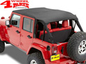 Safari Bikini Top Cable-Style Black Diamond Wrangler JK year 10-18 4-doors