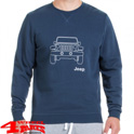 "Round Neck Napped Sweatshirt ""Vehicle Outline"" Blue Light Grey"