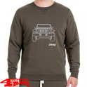 "Round Neck Napped Sweatshirt ""Vehicle Outline"" Military Light Grey"