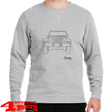 "Round Neck Napped Sweatshirt ""Vehicle Outline"" Grey Melange Military"