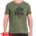 "T-Shirt Vintage-Optik ""American Legend"" J8S in Pine Green Black"